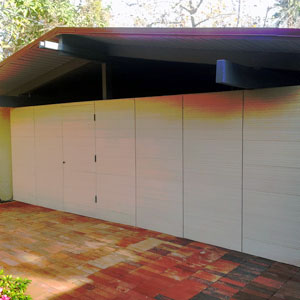 combed garage door front