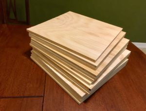stack of combed textured wooden tiles